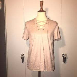 Light pink Z Supply T-Shirt with lace up detail